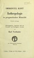 view Anthropologie in pragmatischer Hinsicht / Immanuel Kant.