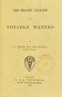 view The organic analysis of potable waters