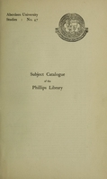 view A subject catalogue of the Phillips Library of pharmacology and therapeutics 615.