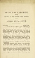 view [President's addresses at the opening of the General Medical Council].