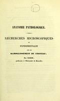 view Anatomie pathologique : recherches microscopiques et expérimentales sur le ramollissement du cerveau / par Gluge.