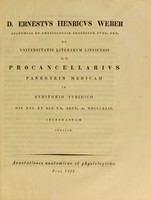 view D. Ernestvs Henricvs Weber ... Procancellarivs panegyrin medicam in avditorio ivridico die XVI. et die XX. Sept. A. MDCCCXLII celebrandam indicit : Annotationes anatomicae et physiologicae. Prol. VIII.