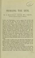 view Nursing the sick / by J. Halliday Croom.