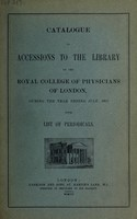 view Catalogue of accessions to the library, 1907, with list of periodicals.