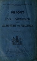 view Report of the Royal Commission on the care and control of the feeble-minded, Volume VIII.