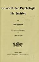 view Grundriss der Psychologie für Juristen / von Otto Lipmann.