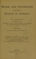 view Work and overwork in relation to health in schools