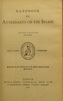 view Handbook for attendants on the insane.