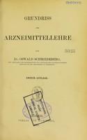 view Grundriss der Arzneimittellehre / von Oswald Schmiedeberg.