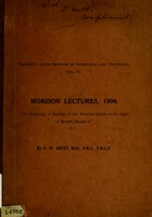 view The pathology of syphilis of the nervous system in the light of modern research : Morison Lectures, 1909 / by F.W. Mott.
