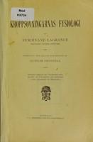 view Kroppsövningarnas fysiologi / av Ferdinand [sic] Lagrange ; översatt och delvis bearbetad av Gunnar Frostell.