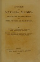 view Notes on materia medica : pharmacology and therapeutics for dental students and practitioners / by Douglas Gabell and Harold Austen.