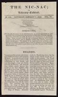 view The Nic-nac; or, Literary cabinet. No.158, Saturday, January 7, 1826. Vol. IV. Beards.