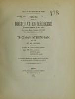 view Thomas Sydenham : sa vie, ses oeuvres