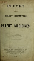 view Report from the Select Committee on patent medicines.