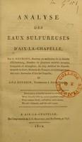view Analyse des eaux sulfureuses d'Aix-la-Chapelle