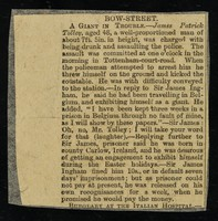"""view [Newspaper cutting (October 1887?) """"Bow Street : a giant in trouble"""" about 7' 5"""" James Patrick Folly's arrest and trial for drunken assault on a police officer in Tottenham Court Road]."""