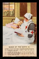 view [Postcard (Queen of the Earth 3) showing a Red Cross nurse sitting, reading to a young man lying in a bed].