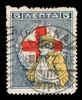 [5 ΛΕΠΤΑ charity stamp showing a soldier with his left arm in a sling against  a red cross].