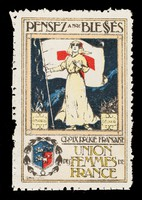 """view [French charity stamp showing a woman holding a Red Cross flag in  her right hand (""""Pensez à nos blessés"""")]."""