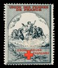 "[French Red Cross charity stamp showing a deity riding a chariot drawn by 4 horses through clouds (""Advolat auxilium"")]."