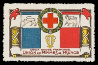view [French charity stamp incorporating the French tricolore flag, Red Cross in a circular wreath and other devices].