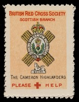 view [3 fund raising stickers for the British Red Cross Society Scottish Branch featuring the arms of the Cameron Highlanders, Black Watch and the Cameronians (Scottish Rifles)].
