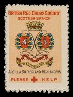 view [3 fund raising stickers for the British Red Cross Society Scottish Branch featuring the arms of the Argyll & Sutherland Highlanders, Seaforth Highlanders and the Royal Scots].