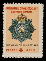 view [3 fund raising stickers for the British Red Cross Society Scottish Branch featuring the arms of the Army Service Corps, The Gordon Highlanders and the King's Own Scottish Borderers].