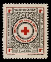 view [Fund raising sticker for the British Red Cross Society Scottish Branch].