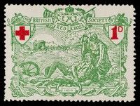 view [British charity stamp showing Britannia, supporting a wounded soldier amidst battlefield carnage, watching an approaching, horse-drawn Red Cross ambulance].