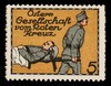 [5 fund raising stickers for the Austrian Red Cross featuring rehabilitation, nursing and transport of wounded soldiers].