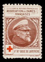 view [Stamp-like sticker sold to raise funds for the French Red Cross. Bearing a portrait of: Vc. Al. Boué de Lapeyère].