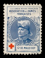 view [Stamp-like sticker sold to raise funds for the French Red Cross. Bearing a portrait of: Gal. de Maud'Huy].