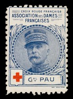 view [Stamp-like sticker sold to raise funds for the French Red Cross. Bearing a portrait of: Gal. Pau].