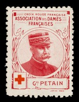 view [Stamp-like sticker sold to raise funds for the French Red Cross. Bearing a portrait of: Gal. Petain].
