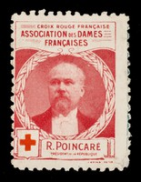 view [Stamp-like sticker sold to raise funds for the French Red Cross. Bearing a portrait of: Gal. Poincaré].