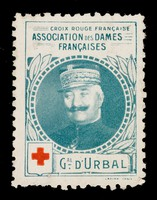 view [Stamp-like sticker sold to raise funds for the French Red Cross. Bearing a portrait of: Gal. D'Urbal].