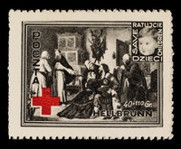 """view [2 fund raising stamps / stickers? issued by the Polish post office in 1946 to raise funds to """"save children"""". The Hellbrun refugee (DP) camp is named]."""