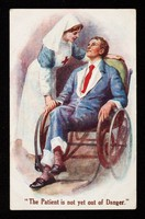 view [Red cross nurse tending to a recovering soldier (?) in a wheelchair].