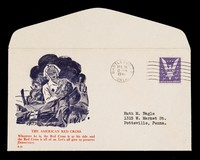 view [Pictorial envelope showing a Red Cross nurse tending to a wounded soldier on a WW2 battlefield].