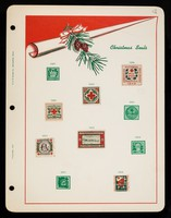 view [Collector's sheet for mounting American Red Cross fund-raising Christmas seals / stickers from 1907-1916. Includes 6 stuck into place].