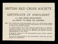 view [Membership card (Certificate of enrolment) for the British Red Cross Society. Used in December 1942].