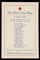 view [Leaflet advertising the American Red Cross shop at 587 Fifth Avenue].