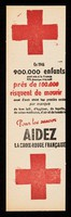 view [Bookmark asking for help for the Fench Red Cross to aleviate children dying of a lack of milk, hygiene, baby linen, medical care, air and light. There is an advert for Citiba rayon stockings on the back].