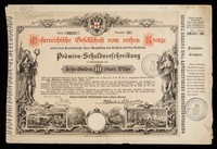 view [1882 ten Gulden lottery ticket in aid of the Austrian Red Cross. Shoes horse-drawn ambulances and nurses in a ward of sick / wounded].