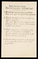 view [29 March 1916 British Red Cross Society first aid examination paper].
