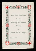 view [British Red Cross SocietyChristmas card for 1917. Illustration of nurse and wounded soldier inside].