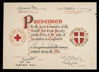 """view [Certificate issued by the British Red Cross Society and the Order of St.  John """"in recognition of valuable services rendered during the war.""""]."""