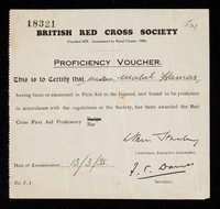 view [Proficiency voucher issued by the British Red Cross Society in March 1935 certifying proficiency in first aid].
